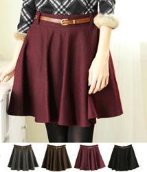 0GB3-0122  Elegancka Trapezowa Spódnica z Paskiem