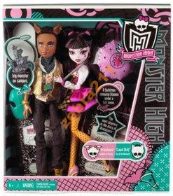 MONSTER HIGH DRACULAURA i CLAWD WOLF zestaw parka