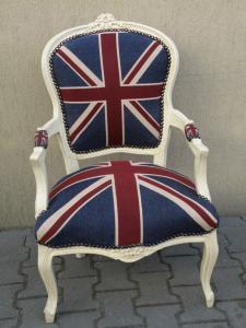 STYLOWY FOTEL LUDWIK Z FLAGĄ ANGLII.FOTELE ANGLIA